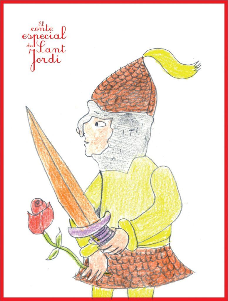 Pòster que acompanya el llibre 'El conte especial de Sant Jordi'. Dibuix de David G.
