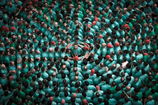 Pinya del 4 de 9 fa dels Castellers de Vilafranca. Foto de David Oliete