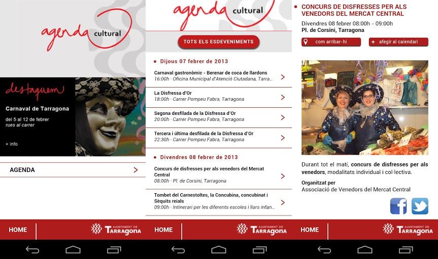 Captures de diferents pantalles de l'aplicació Agenda Cultural Tarragona