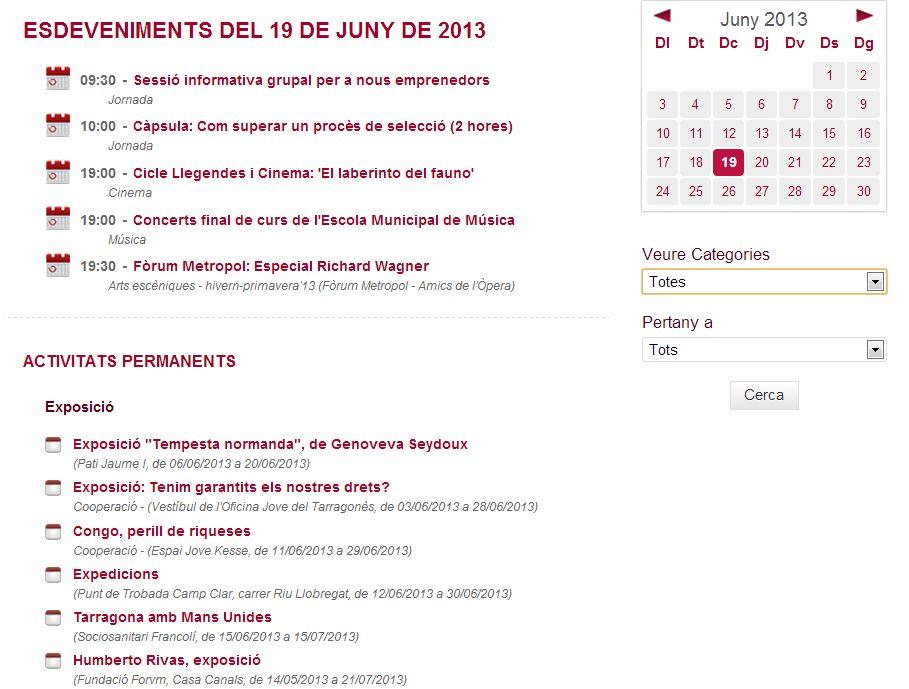 Captura de pantalla de l'agenda cultural des del web www.tarragona.cat
