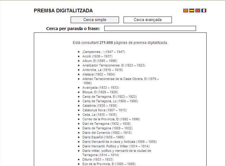 Portada de l'apartat de premsa digitalitzada de la pàgina web de la Biblioteca Hemeroteca Municipal