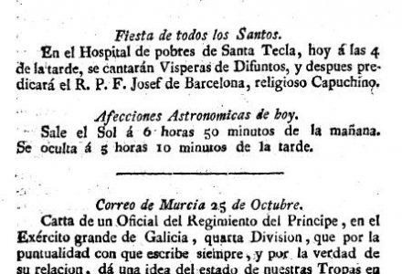 Primera pàgina del primer número del 'Diario de Tarragona', editat el dia 1-11-1808