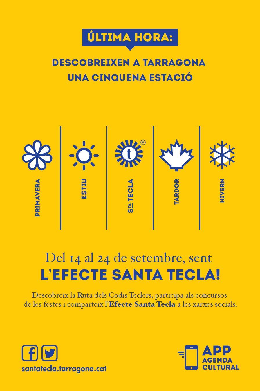 Descobreixen a Tarragona una cinquena estació: primavera, estiu, Santa Tecla, tardor i hivern. Anunci promocional de l'efecte Santa Tecla