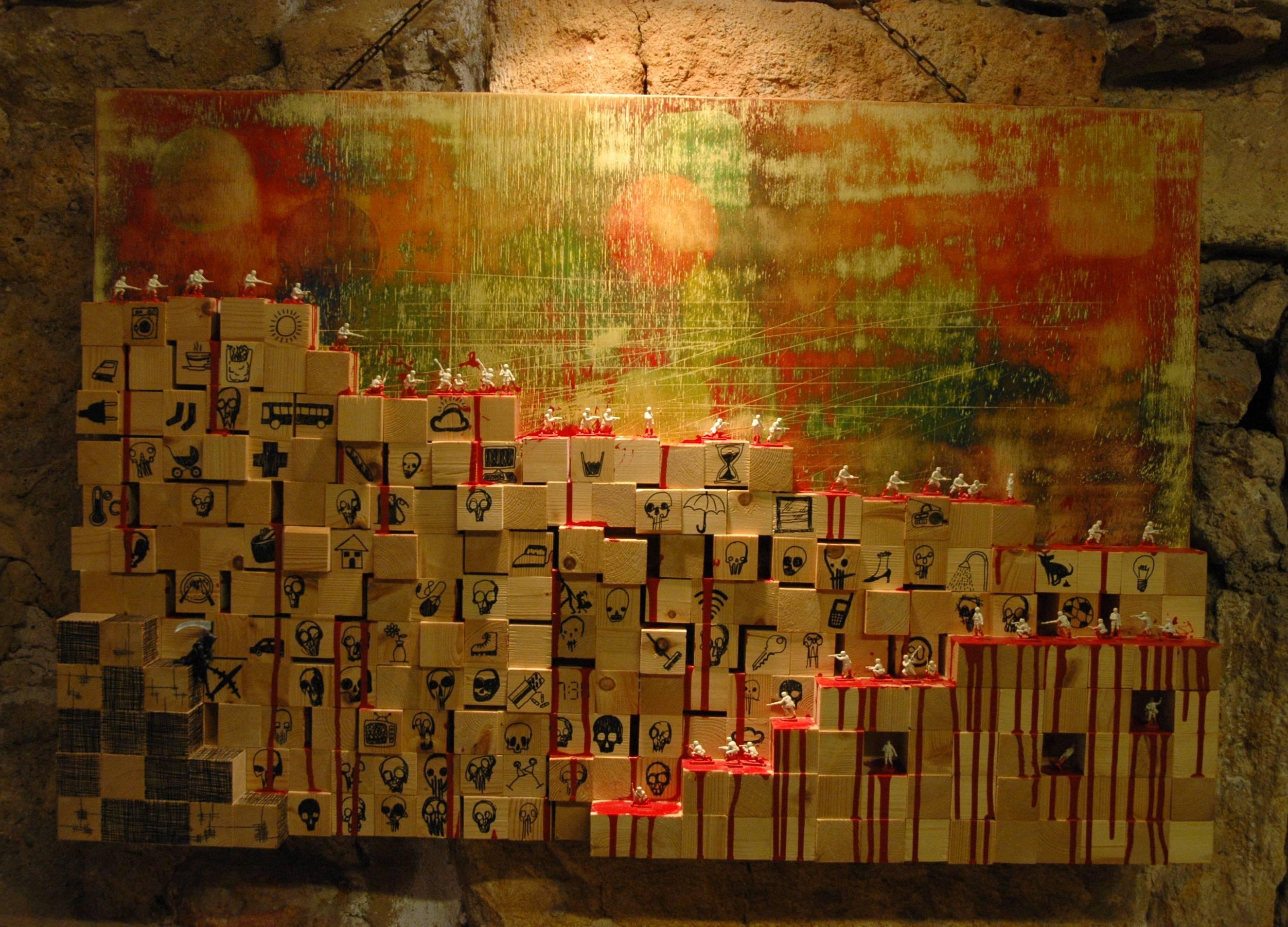 """Una de les obres de gran format de l'exposició """"Miniatures i camuflatges"""", de la Galeria Tàrraco"""