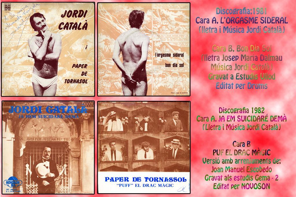 Portades i contraportades dels dos discs editats per Jordi Català i Grup Paper de Tornasol