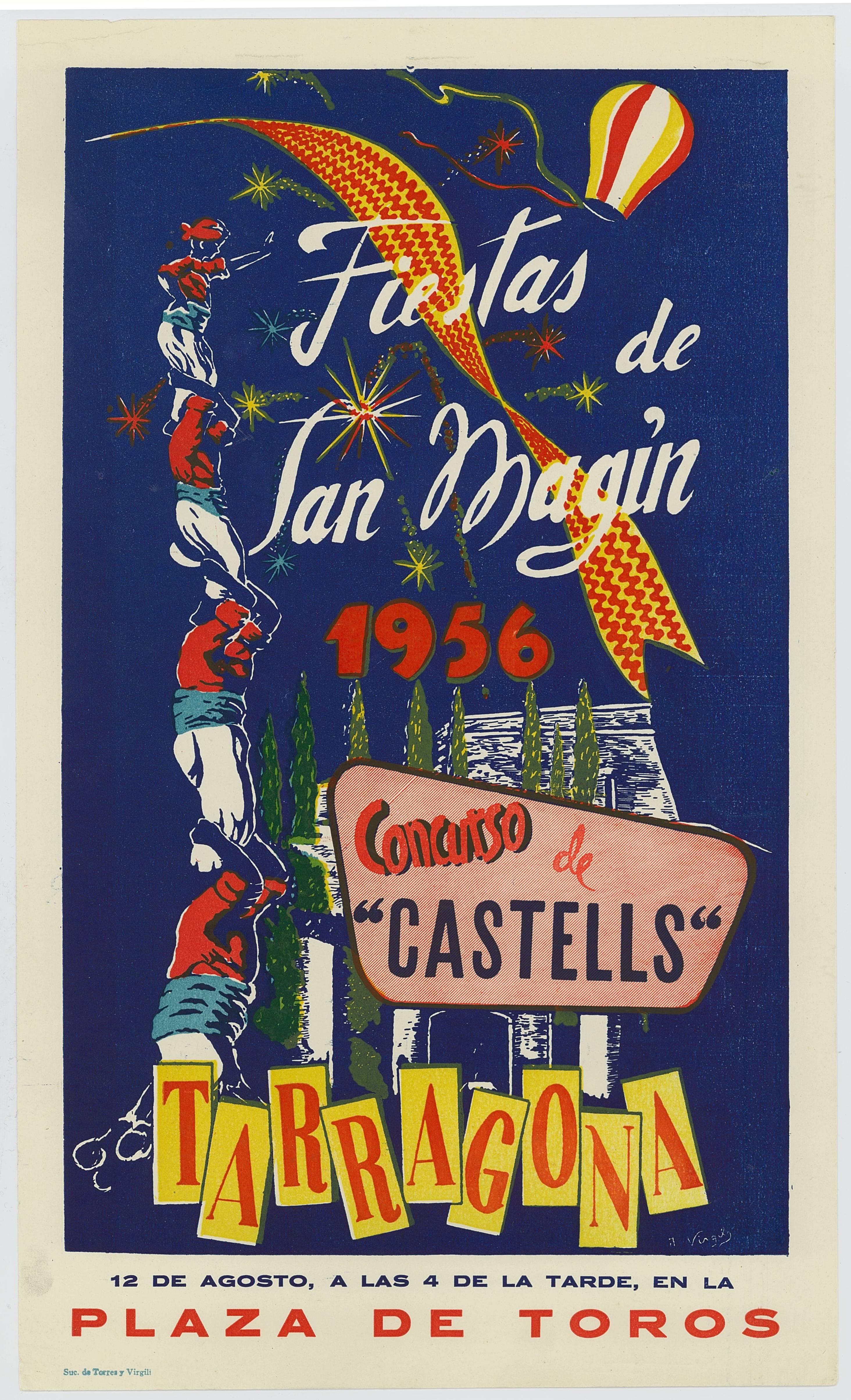 Cartell del Concurs de Castells de 1956, emmarcat a les festes de Sant Magí