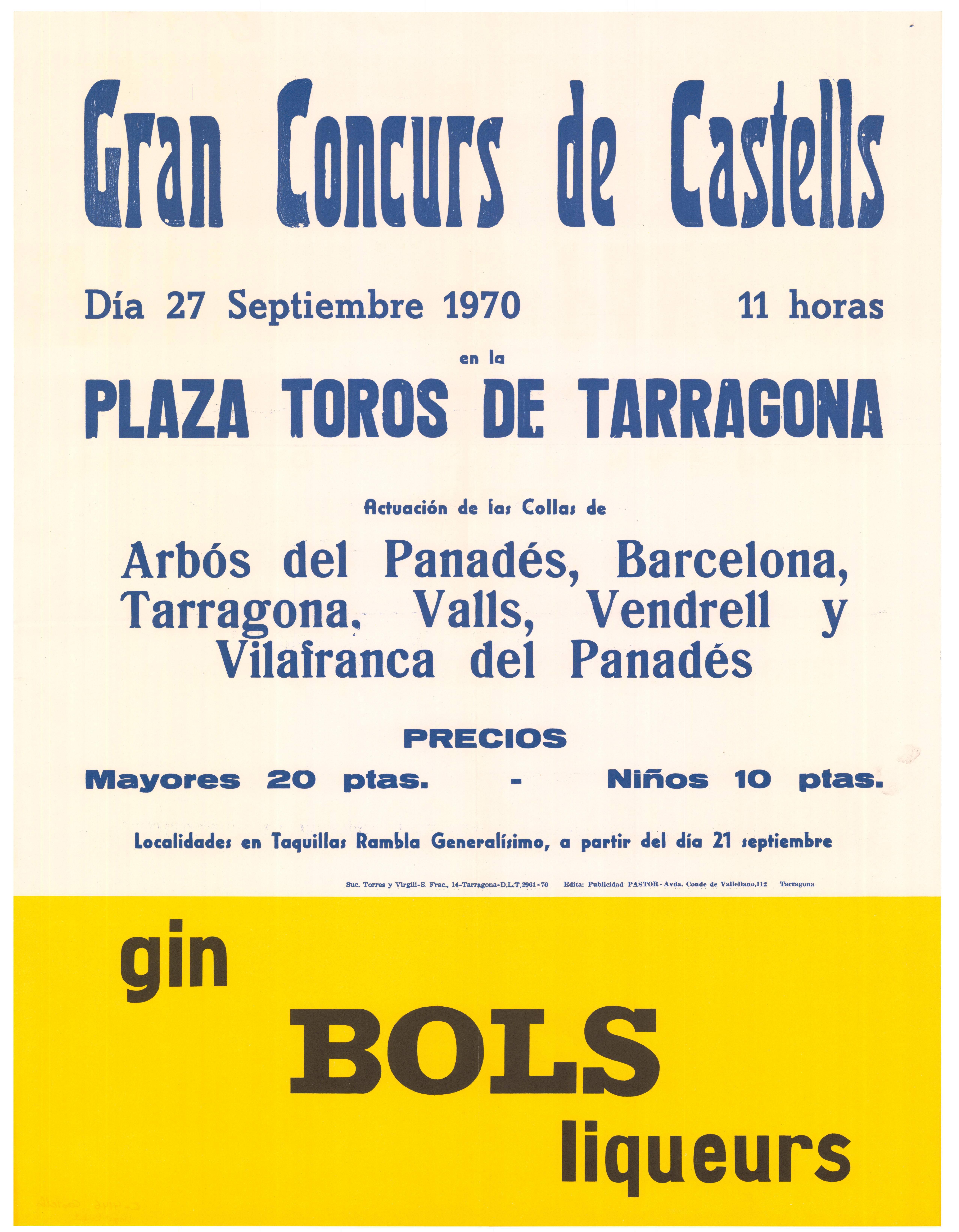 Cartell del Concurs de Castells de 1970