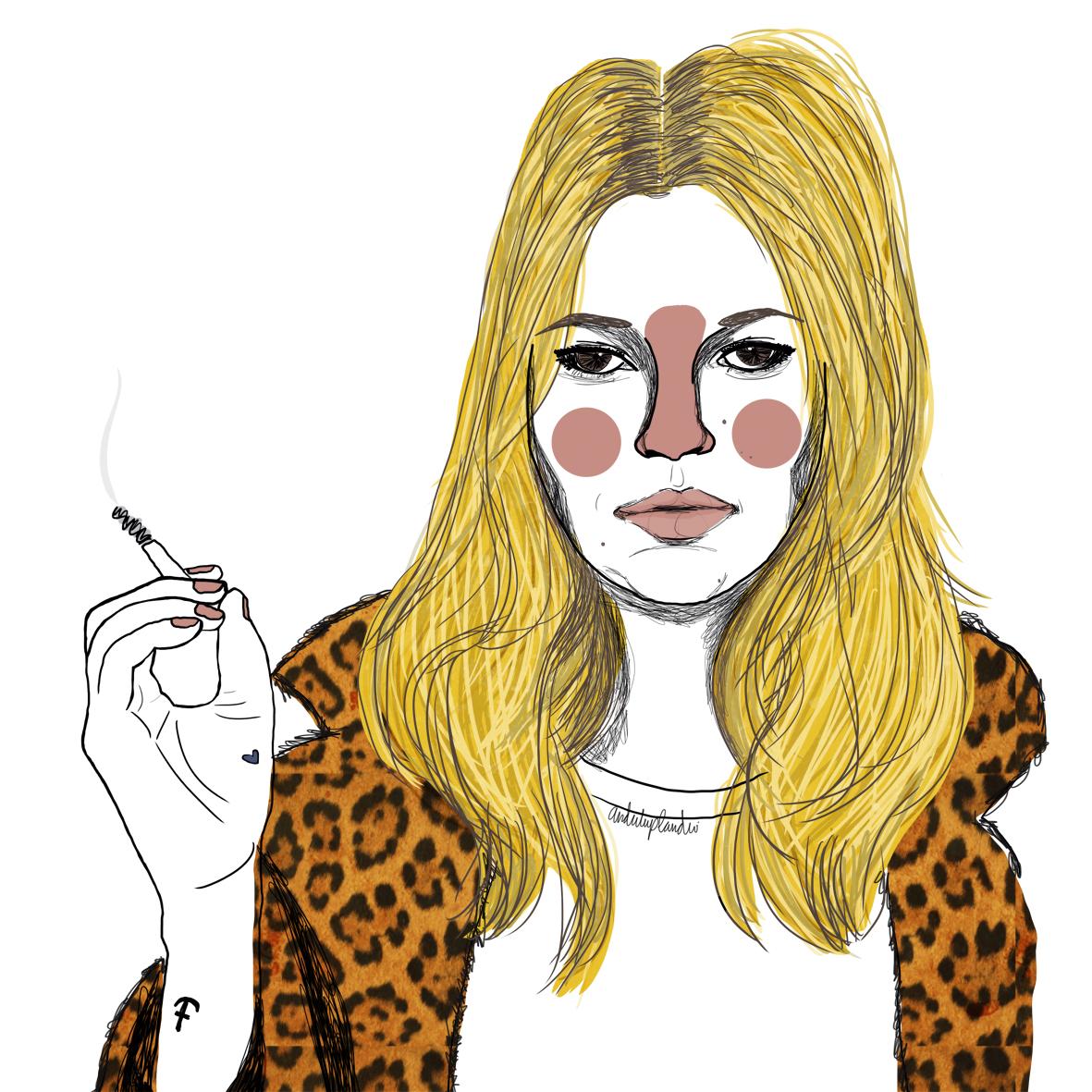 La model Kate Moo, en una il·lustració d'Elisabet Díez 'Anduluplandu'