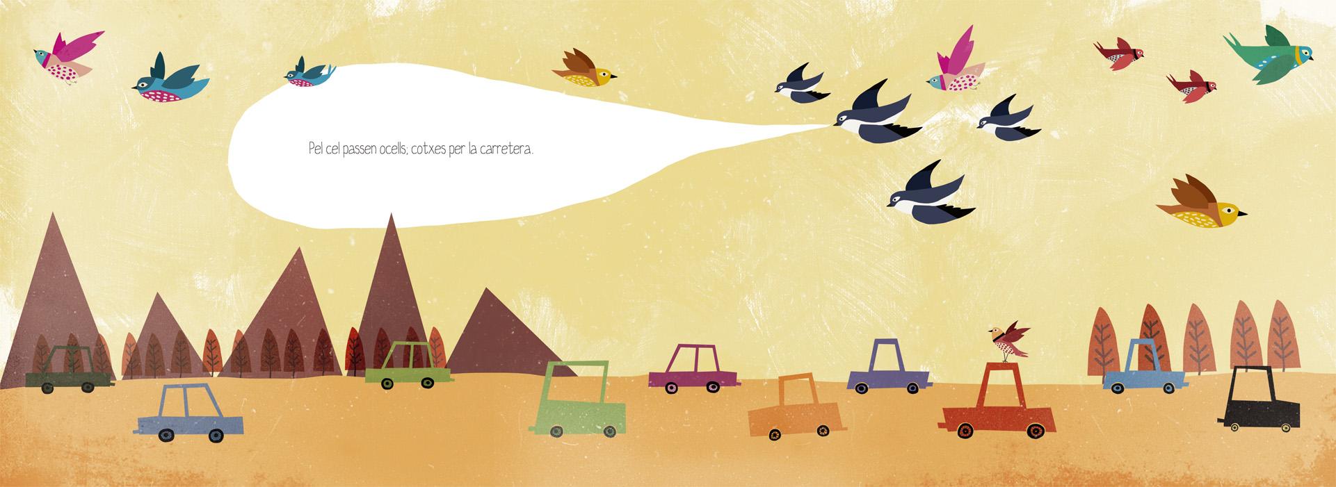 Pel cel passen ocells, cotxes per la carretera. Il·lustració d'Elisabet Díez 'Anduluplandu'