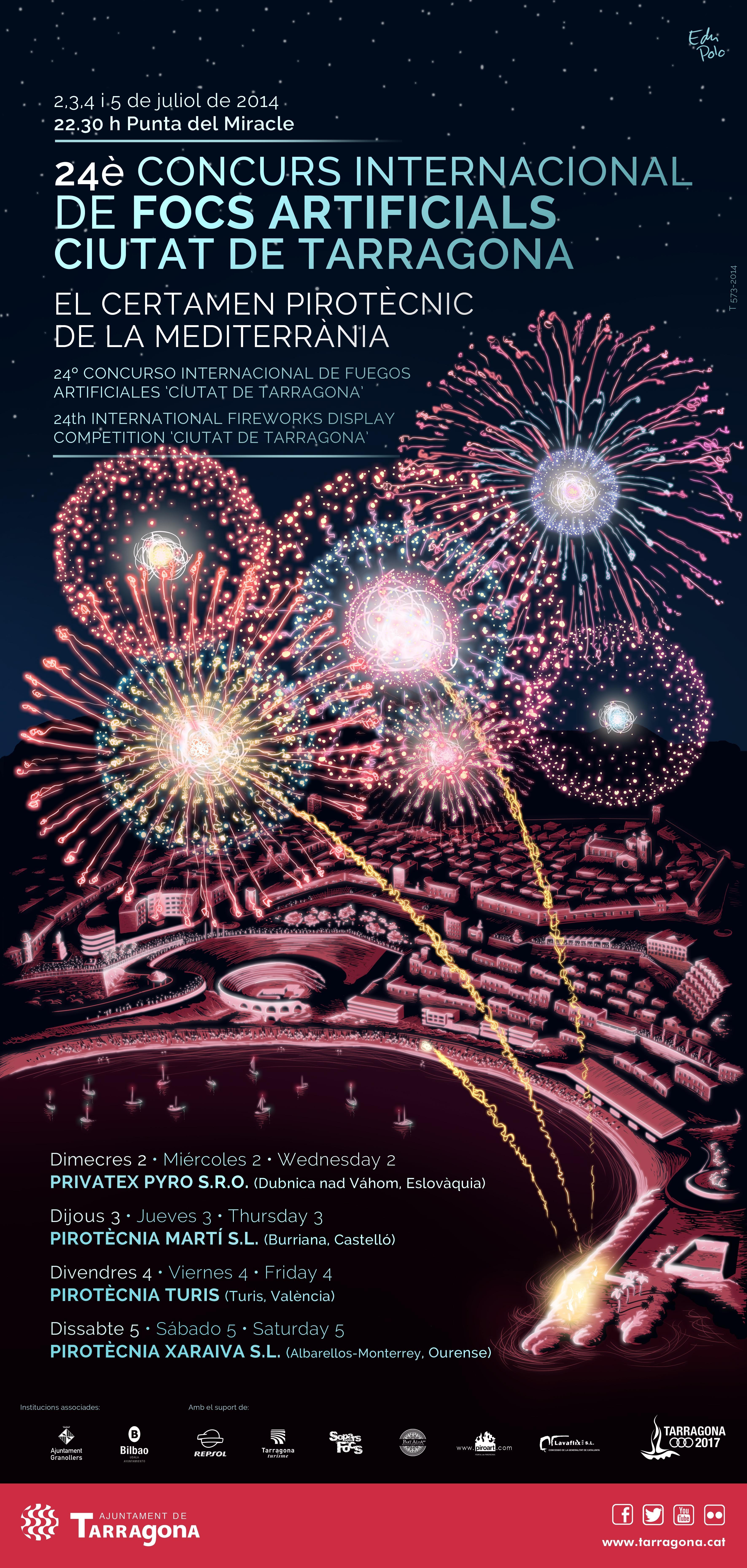 Cartell del 24è Concurs Internacional de Focs Artificials Ciutat de Tarragona, obra d'Edu Polo