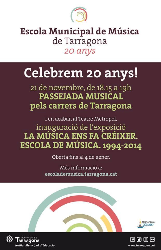 Cartell promocional dels actes del 20è aniversari de l'Escola Municipal de Música de Tarragona