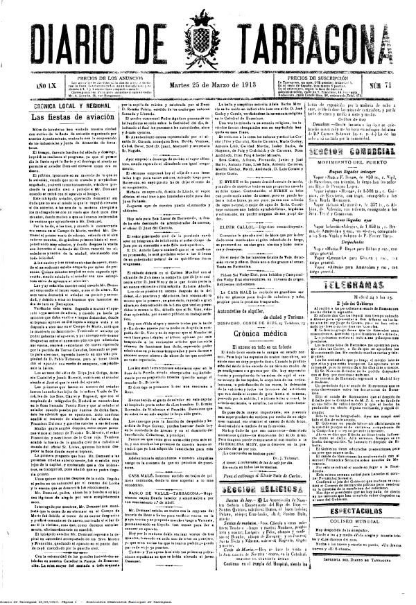 Diari de Tarragona 25 de març de 1913